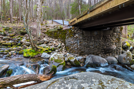 tn: Bridge over forest creek with waterfalls. Great Smoky Mountains National Park, Tennessee, USA