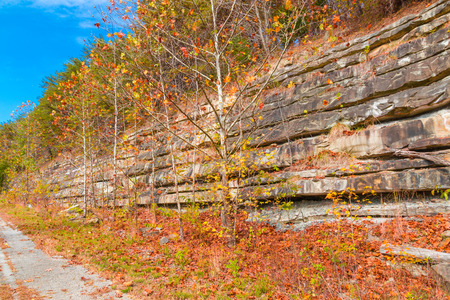hundreds: Mountain cliff with rock layers, colorful stone formations of rocks stacked over the hundreds of years. Autumn season.