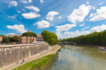 Cycle track along the Tiber river in Rome, Italy Stock Photo