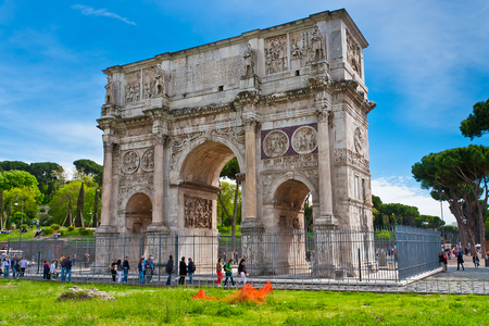 The Triumphal Arch of Constantine in Rome, Italy. Arch is located near the Colosseum. It was built in the year 315 and is dedicated to the victory of Constantine over Maxentius.