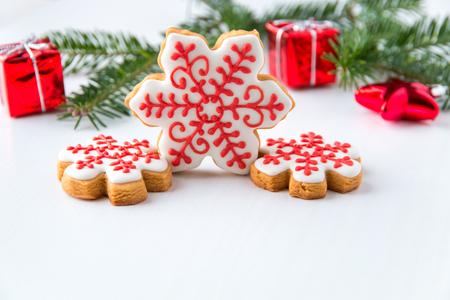 自家製スノーフレーククリスマスクッキー。