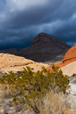 Desert landscape with  rainy  clouds in  Nevada, USA. Stock Photo