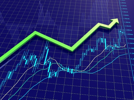 trading: 3D render of green arrow on blue Forex chart