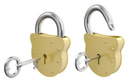 opened: Render of opened and closed padlocks with keys isolated on white