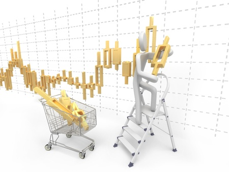 pushcart: 3D man standing on a ladder and sets the golden exchange candlestick from the pushcart
