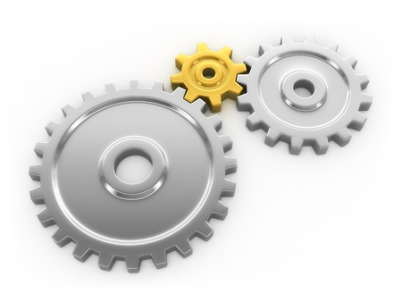 mediator: Series connection of 3d gears  Isolated on white background