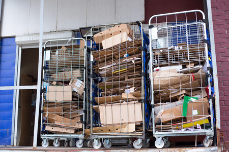 an image of collecter used cardboard boxes in a recycling center Banque d'images - 114032709