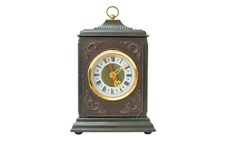 Wooden antique clock isolated on a white background