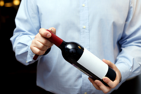 male sommelier is checking and testing red wine and making notes