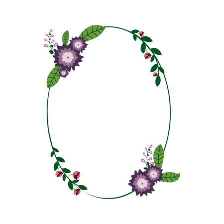 Ellipse Floral Wreath. Purple flowers. Flower frame.