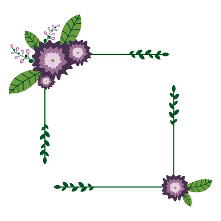 Square Floral Wreath. Purple flowers. Flower frame. Illustration