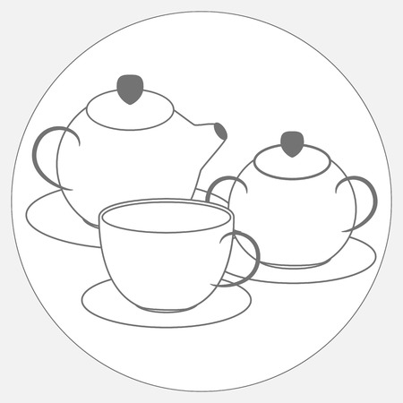 tea set: Grayscale drawing of tea set from teapot, cup and sugar bowl