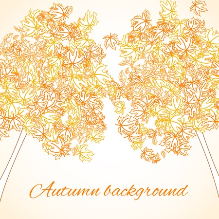 contoured: Background with autumn contoured trees Illustration