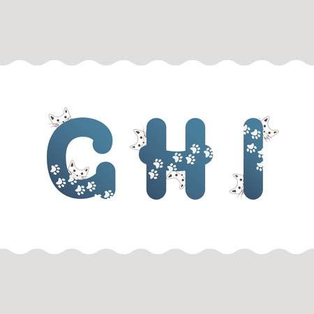 Set of cat letters G, H, I Vector