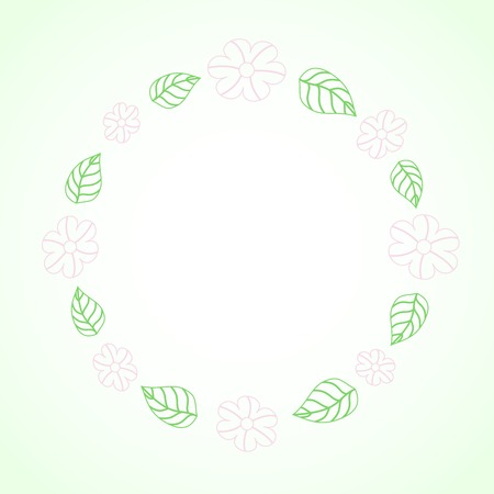contoured: Frame with spring contoured leaves and flowers Illustration