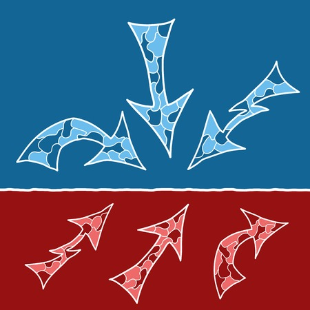 Mosaic doodle arrows in blue and red variants Vector