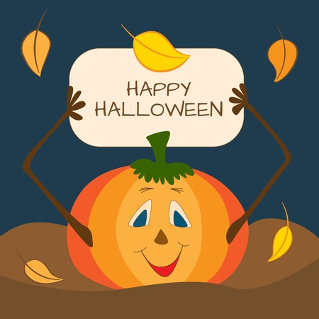 Halloween card with pumpkin and autumn leaves Vector
