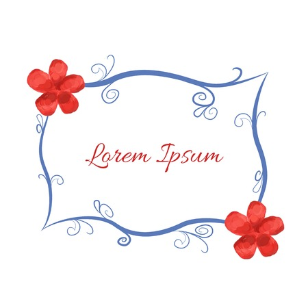 Blue frame with embellishments and red stylized flowers