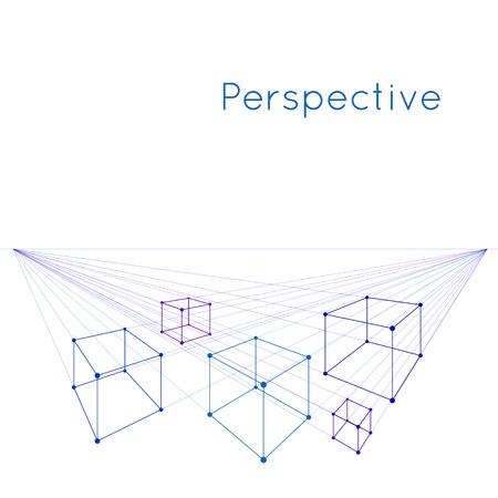 Cubos en perspectiva con dos puntos de fuga