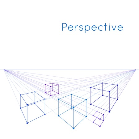Cubes in perspective with two vanishing points  Illustration