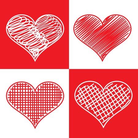 heart outline: Set of hand drawn hearts.  Illustration