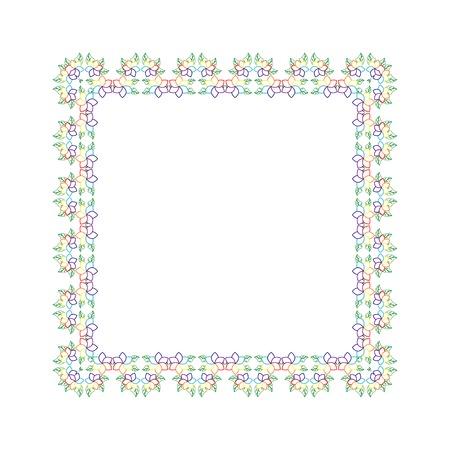 contoured: Marco con hojas y flores de verano contorneada