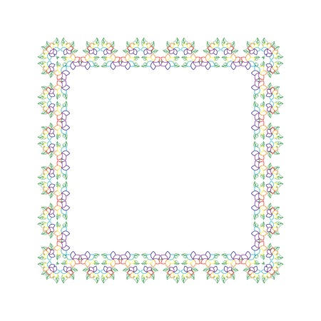 quadratic: Pagina con l'estate sagomato foglie e fiori Vettoriali
