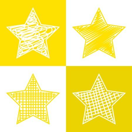 Set of hand drawn stars.  Vector