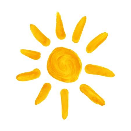 Watercolor hand drawn sun.