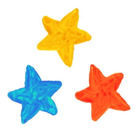 Watercolor hand drawn stars.