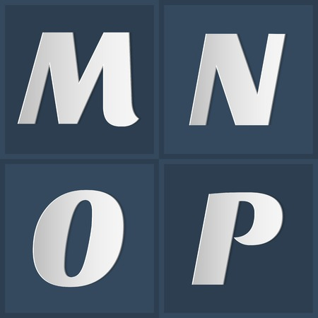uppercase: Paper Graphic Uppercase Alphabet Set M N O P