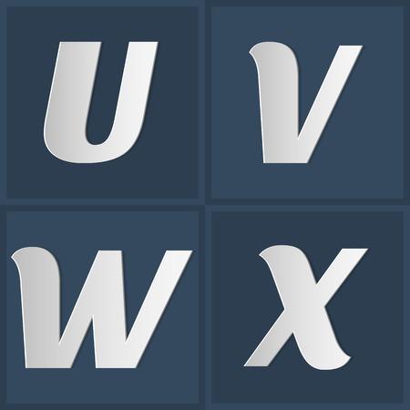x stand: Papel may�sculas gr�fico Conjunto De Alfabeto UVWX Vectores