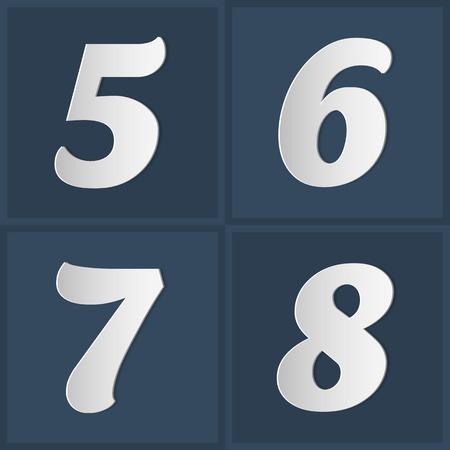 6 7: Paper Graphic Alphabet Set Number 5 6 7 8