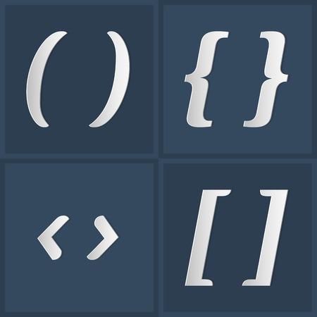parentheses: Vector Paper Graphic Alphabet Set Symbols