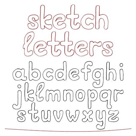 Hand drawn sketch alphabet.  Vector