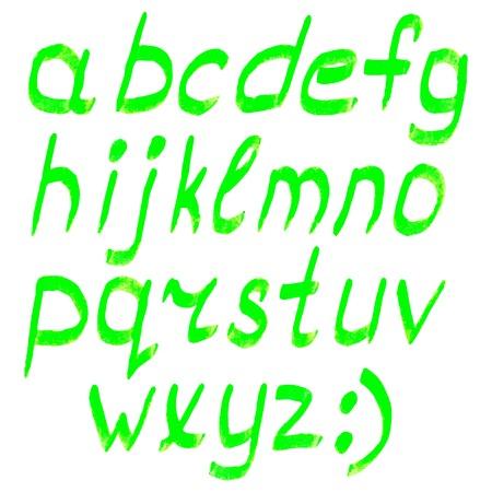 Vector highlighter elements - handwritten alphabet - lower case, green