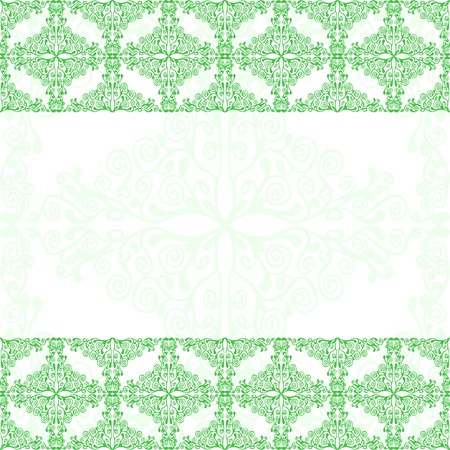 old frame: Green floral flyer background for your design. Vector illustration. Illustration