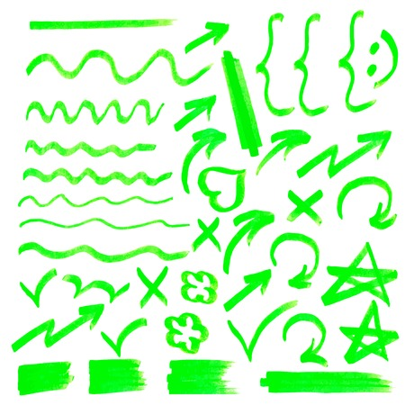 Vector highlighter elements - hand drawn arrows, lines, stars, etc., green Illustration