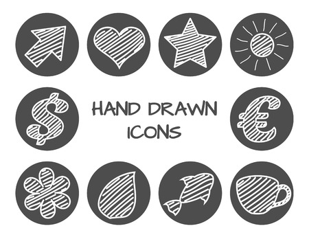 Set of hand drawn icons. Vector grunge style icons collection Vector