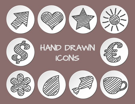 Set of hand drawn icons on paper circles. Vector grunge style icons collection Vector