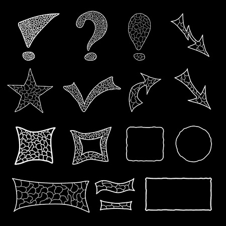 Set of white mosaic doodle elements for your design Vector