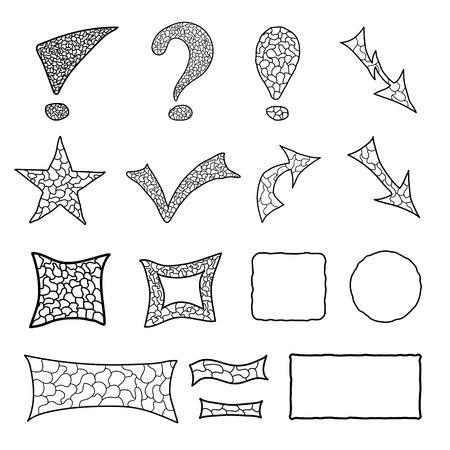 Set of black mosaic doodle elements for your design Vector