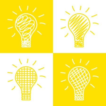 cartoon light bulb: Set of hand drawnlight bulbs. Vector grunge style icons collection