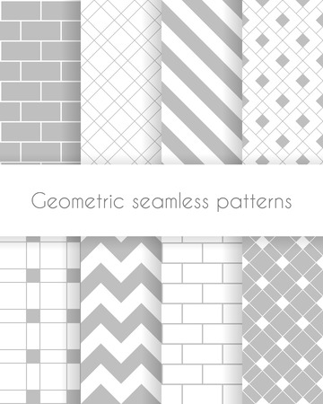 Set of geometric minimalistic seamless patterns in white and gray colors. Vector illustration Vector