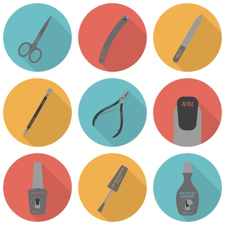 pedicure: Set of flat icons of tools and accessories for nail care - manicure and pedicure. Scissors, nail files, cuticle pusher, cuticle nipper, nail polish, nail polish brush, nail polish remover. Vector illustration