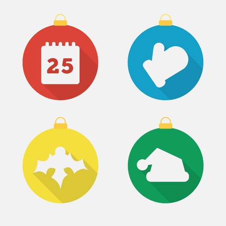 Set of Christmas and New Year icons, flat icons. Vector