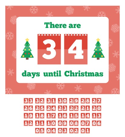 countdown: Countdown calendar. Waiting for Christmas. Vector illustration in flat style