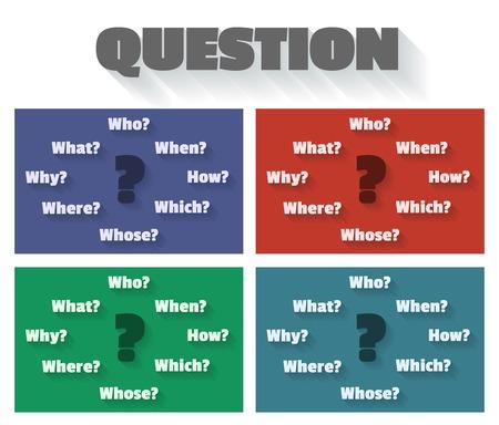 whose: Punti interrogativi e parole - chi, come, quando, che, perch�, cui, dove, cosa. Illustrazione vettoriale in forma di mappa mentale in stile appartamento con lunghe ombre.