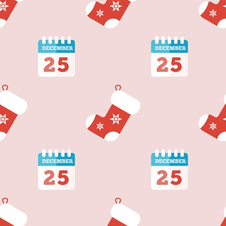 Christmas background with calendar and sock in flat style. Vector illustration Vector