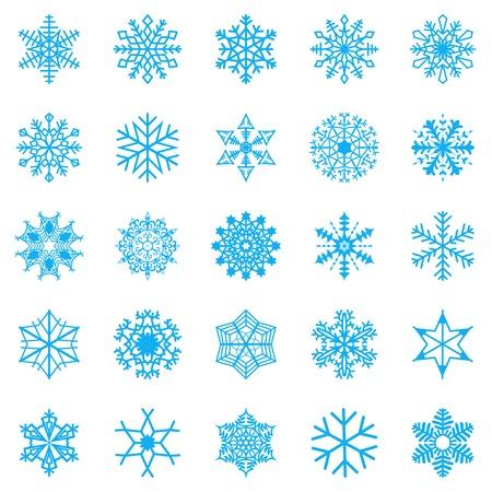 Snowflake set for winter design. Vector illustration Vettoriali